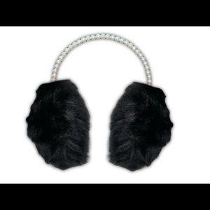 Black  Fuzzy Faux Fur Earmuff w Pearl Headband